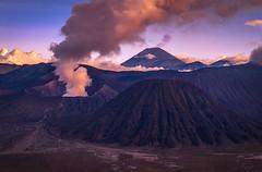 Batok, Bromo, and Semeru (ben_leash) Tags: blue sony a77 volcano volcanoes volcanos smoke bromo tengger java indonesia gunung gunungsemeru eruption morning dawn mountain mountains landscape