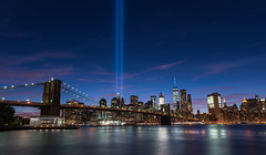 September 11th Memorial (Globalviewfinder) Tags: september 11 11th 911 2001 nine eleven memorial new york nyc city manhattan world trade centre center east river brooklyn bridge lights beams towers reflection freedom tower one dumbo