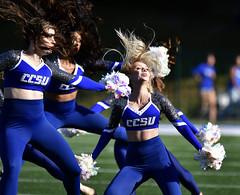 CCSUfootball-BR-091816_9139 (newspaper_guy Mike Orazzi) Tags: collegeathletics centralconnecticutstateuniversity bowiestate college newbritain sports 200400mmf4gvr d500 nikond500 collegefootball ccsu cheer danceteam crazyhair collegecheerleaders cheerleaders cheerleader bluedevil