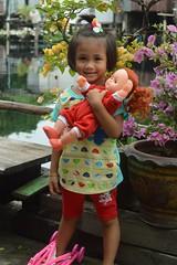 cute girl with her doll (the foreign photographer - ) Tags: sep112016nikon cute girl child doll bougainvillea flowers khlong lard phrao portraits bangkhen bangkok thailand nikon d3200