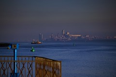Liverpool from Eastham Ferry (Rob Pitt) Tags: from morning building ferry liverpool canon river dof view telescope liver mersey wirral eastham efs55250mm