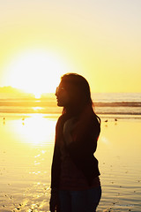 TAKE IT (Simonn P) Tags: ocean light sunset sea orange sun black beach girl beautiful sunglasses birds yellow canon hair 50mm profile silhouettes simonnpino