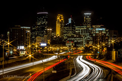 Minneapolis Skyline (ECS Photography) Tags: light red white cars yellow skyline night buildings long exposure minneapolis freeway hdr ecsphotography