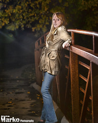 Shoot with the Lovely Kat (KreativeK Photography) Tags: bridge blue trees hot cute green girl beautiful leaves night photography spider women kat jeans nighttime rusted kylemarkophotography