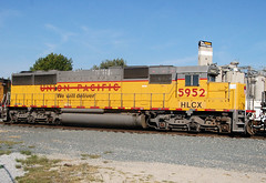 HLCX#5952 EMD SD60 UNION PACIFIC WE WILL DELIVER MAUMEE,OHIO 9-21-10  MONDAY (penn central 74) Tags: unionpacific hlcx maumeeohio helmleasing armouryellow emdsd60 wewilldeliver 092110 nsmaumeebranch hlcx5952