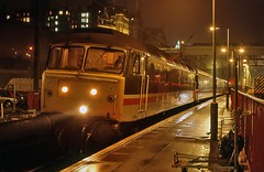 Damp Duff (SydPix) Tags: wet water rain night reflections edinburgh diesel trains locomotive railways waverley intercity class47 confederationofbritishindustry 47595 sydyoung