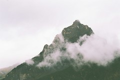Partly cloudy. (abran fuego) Tags: mountains film clouds schweiz switzerland suiza hiking nubes pentaxk1000 kandersteg bern analogue bergen senderismo canton montaas fujifilmsuperia phdretreat