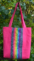 Mouthy Stitches Tote: Back (jenjohnston) Tags: pink rainbow text swap tote