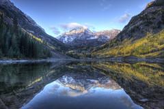HDR view of Maroon Bells, Aspen, Colorado (Jsdeitch) Tags: fall bells sunrise canon eos colorado bell mark maroon f14 iii 14 l 5d series 24mm wilderness aspen ef snowmass 14l f14l 24l 24mml 5d3 5diii