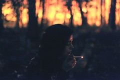 Before Dawn Blinks, I Am Ash. (| Jared Tyler) Tags: hot cold color film halloween night forest canon fire mood darkness bokeh f14 smoke smoking burn setting consume inhale jaredtyler
