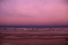 Lake Michigan, Dusk, Evening After Sandy Hit the East Coast (moonlightbaker) Tags: pink cold wisconsin windy lakemichigan roughwaves strangeskyatsunset