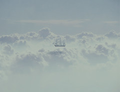 Sky Sailing (ThomasBlumenthal) Tags: sky texture nature fog clouds photoshop landscape outdoors boat ship shadows dof editorial tones thomasblumenthal
