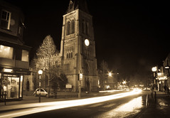 My home town looks great with a slow shutter speed (Holly Norval) Tags: blur church night canon lights town leicestershire lensflare slowshutter marketharborough eos400d