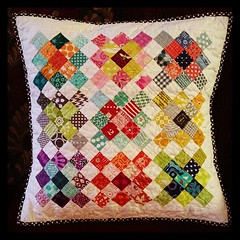 "Granny square mini from last year finally done!  Quilted it, Made it a pillow and washed it to make it fit the pillow form I had.  I love it!  About 19"" finished and washed. (Michelle @ i like orange.) Tags: square quilt squareformat granny hefe iphoneography instagramapp"
