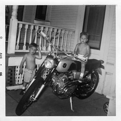 Motorcycle Gang - 1966 (Magic Hour Images) Tags: boy blackandwhite bw honda 1966 scanned motorcycle 1960s scrambler 305cc cl77
