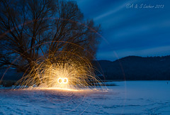 Two Baby Spins By Frozen Liberty Lake (SimplyAmy74) Tags: nightphotography winter lake lightpainting washington spin libertylake frozenlake steelwool