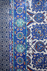Beautiful blue Iznik tiles at Rustem Pasha Mosque, Istanbul, Turkey (aygulmipo) Tags: travel blue architecture turkey tile photo islam istanbul mosque ottoman  sinan  pasha camii   iznik      rstem
