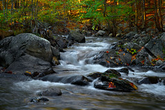 Happy Waters - in explore (SunnyDazzled) Tags: longexposure autumn trees history fall nature leaves forest river landscape waterfall newjersey woods colorful stream afternoon stones flowing legend slowshutterspeed wanaque