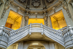 City Hall's balcony (AlphaFy) Tags: old urban sculpture france classic monument architecture stairs photoshop sens hotel raw burgundy sony alpha dslr past bourgogne hdr ville urbain photographe pass a230 yonne photomatix hdraddicted hdraward hdrterrorist alphafy
