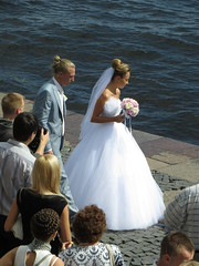 SPB Navy Day Wedding Day Matching hairdo (robert_m_brown_jr) Tags: flowers wedding woman man girl lady river hair stpetersburg groom bride dress russia weddingdress weddingday hairstyle embankment neva sanktpeterburg  river  vasilyevskyisland neva