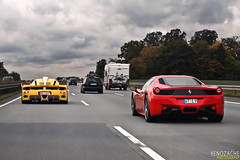 Traffic (Keno Zache) Tags: red yellow highway italia traffic competition autobahn ferrari racing german enzo speeding edo combo keno zxx 458 fxx zache