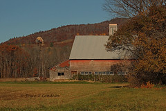 Windmill Barn_IMG_6610mecm-20L (Joyce_E_Landean (Keeping busy)) Tags: red foothills mountain fall windmill barn maine scene cupola weathered weatheredwood 2012 manurespreader weddingroute