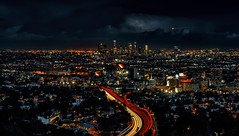 Chaotic Uniformity (Wilkof Photography) Tags: hollywoodbowloverlook scenicoverlook mulhollanddrive hollywood losangeles la california ca lighttrails architecture city cityscape countryside cloudy canont4i canon evening horizon hillside industrial iconic downtown landscape light longexposure neutraldensity le lights landmark nature night overcast outside overgrown perspective panoramic rain shadow skyline sky sundown sunset trees urban surreal bright helicopter weather windy wilkofphotography
