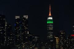 Empire State Building in Indian Tricolor (Arvind Mathur) Tags: weehawken newjersey unitedstates canon canoneos6d canon6d canon70200 canon70200f4lis empirestatebuilding newyorkcity newyork manhattan manhattanskyline tricolor