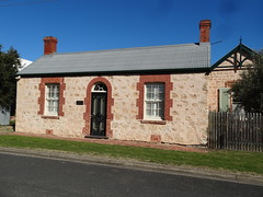 Goolwa. Old cottage from 1860s. Later additions made it the Maternity Hospital from 1910 to 1935. (denisbin) Tags: goolwa couthouse maternityhospital church anglican highlandshouse hotel pub coriohotel