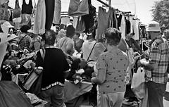 Sidewalk Garment Sale (Robert S. Photography) Tags: streetfair festival brighton jubilee crowd shopping clothes bw brooklyn nyc canon powershot elph160 iso200 august 2016 garments