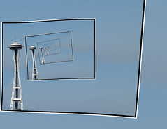 Around.........and Around Space Needle (ClaraDon) Tags: droste pixelbender photoshop