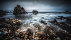 The Land that Time Forgot (Augmented Reality Images (Getty Contributor)) Tags: canon clouds coastline landscape leefilters longexposure morayshire pebbles rocks scotland seascape sunnysidebeach tide water waves