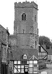 The tower of the parish church (eucharisto deo) Tags: bw fachwerk timberframe tudor much wenlock tudorstyle church tower blackandwhite bandw blackwhite timber frame timberframed