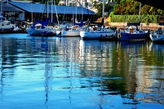 Marina Blues Reflected (zenseas : )) Tags: marina blue blues reflected reflections ballardlocks underthebridge seattle ballard sailboat sailboats yacht yachts docked washington summer sunny