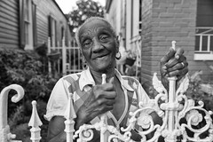 Miss Ramsey (Sam Lothridge-New Orleans, USA) Tags: neworleans louisiana marigny nola neighbor neighborhood black woman blackwoman elderly beautiful stories history wisdom truth irongate portrait blackandwhiteportrait