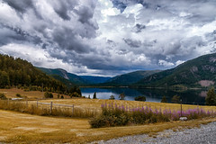 Lake in Tovdal. (UPSID3D0WN) Tags: norway clouds lake tovdal summer fall yellow upsidedown abstact ligthroom