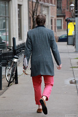 Hot colour for a cold day (Canadian Pacific) Tags: montreal montral quebec qubec canada canadian city urban rue sherbrooke street w west o ouest aimg9035 man fashion pink red pants trousers