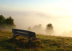 Take a little time to admire the view (Glyn Heskins) Tags: common rodborough early morning view seat mist fog rise sun gloucestershire stroud