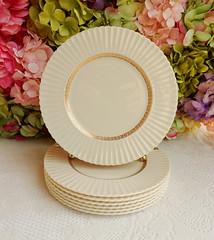 Lenox Porcelain Salad Plates ~ Cretan ~ Greek Key ~ Gold Gilt (Donna's Collectables) Tags: lenox porcelain salad plates ~ cretan greek key gold gilt thanksgiving