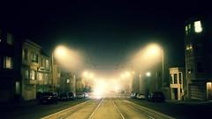 Sunset Fog (Zee Jenkins) Tags: light lighting streetlight streetcar tracks road sf san francisco fog foggy night nighttime sunset inner dark darkness halloween autumn fall