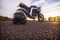 T-34 (Angel Alonso canon) Tags: bike motorbike custom blue green sunset helmet samyang 14mm f28 ed as if umc