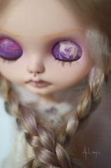 Lilac Phantom (Art_emis) Tags: lilac phantom custom blythe doll ooak handmade hand carved reshaped altered sad girl purple mohair rerooted highlights blond grayish azone pure neemo white flection body antique fabric skirt dress crochet bodice scotty mum rbl takara photography artemis