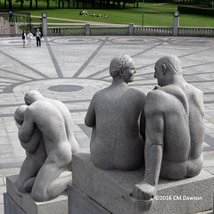 """""""Man and woman,"""" 1917 and """"Elderly man and smiling young woman"""" 1920 (Christopher M Dawson) Tags: man woman viking baltic scandinavia homelands travel international foreign tourism adventure history scenery art architecture europe ©2016cmdawson nikon norway oslo capital city sculpture vigeland frogner park frognerparken thorsen statue"""