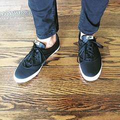 Sneakers (wellnesswildflower) Tags: sneakers black nike laces pants jeans hardwood wood floor new white laced womens girls