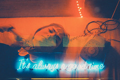 Maybe not (Louis Dazy) Tags: 35mm analog film grain double exposure neon sign good time red light blue low dark girl phone vintage old