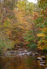 Cross River (JMS2) Tags: autumn trees nature forest river season landscape foliage slowshutter crossriver