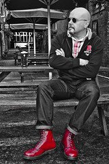 Dr Marten 1460 Cherry red boot. (CWhatPhotos) Tags: pictures city original england house color colour men love feet me beer colors up yellow garden that cherry table outside rouge foot photo cool mine sitting colours foto durham with hole photos lace dr air picture olympus shades wear have doctor footwear fotos mens stitching pup comfort pint doc cushion marten which soles docs laces contain lager drmartens bouncing selective airwair docmartens martens dms laced 1460 drmarten puplic cushioned wair 1460s yellowstitching epl1 cwhatphotos