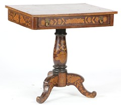 44. Marquetry Inlaid Continental Parlor Table