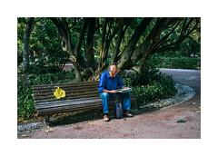 Lisboa - Jardim da Estrela (Sr. Cordeiro) Tags: park old man leave portugal bench newspaper lisboa lisbon estrela banco jardim sit sentado fujifilm jornal folha homem velho cadeira jardimdaestrela x100 jardimguerrajunqueiro