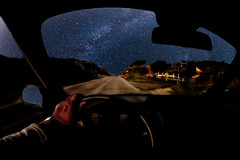 driving home tonight (dtsortanidis) Tags: road sky car night canon stars landscape photography drive driving mark space fisheye ii 5d universe cosmos dimitris milkyway dimitrios 815mm tsortanidis dtsortanidis